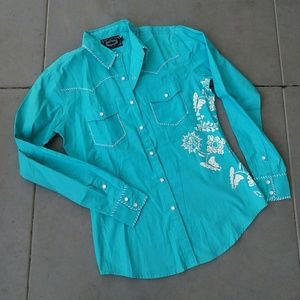 Cowgirl Hardware Turquoise Embroidered Western Top